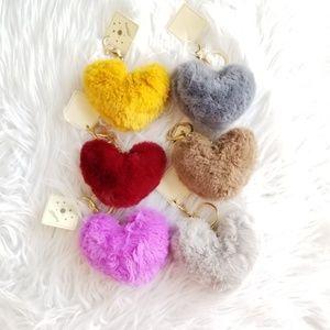 Faux fur heart keychain